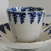 Spatterware Child's Cup & Saucer  Cut Sponge  Blue Fern, Antique 19thC English
