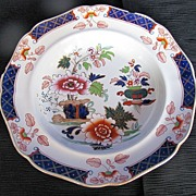 John Ridgway Soup Plate, Imperial Stone China , English Imari, Antique 19thC