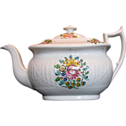 New Hall Teapot,  Staffordshire Porcelain, Basket Weave,  Antique 19thC English
