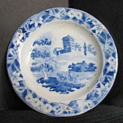 Hackwood Toy Plate, Institution or Monastery Hill, Blue Transferware, Antique 19thC English