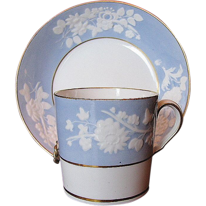 Spode Coffee Can & Saucer, Lavender Blue, Embossed Florals, Antique Early 19thC English