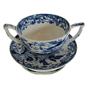 Wedgwood Cup & Trembleuse Saucer, Blue Crane,  Early 19thC