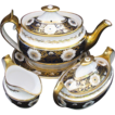 Spode Tea Set, Early 19thC, Teapot,  Creamer, Sugar, & Stand,  Blue & Gold