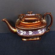 Copper Lustre Teapot,  As Is, Study Piece, Antique 19thC English