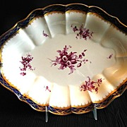 Royal Worcester Bowl, Handpainted Flowers,Blue, Gold & Puce, Antique 19thC English