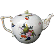 Herend  Teapot, Colossal and Rare 20 Cup Size, Fruits and Flowers Pattern, Vintage