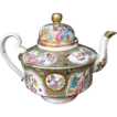Rose Mandarin Teapot,  Large, Gold in Hair,  Antique 19thC Chinese Export