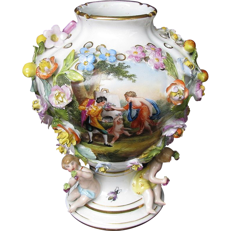 Carl Thieme Vase, Flower Encrusted, 3 Putti,  Antique 19thC Dresden  Porcelain