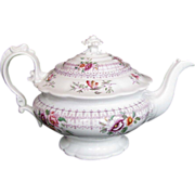 John Ridgway Teapot, Bone China, Rare Form, 19thC English, c1830