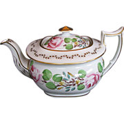New Hall Teapot, London-Shape, Bone China,  Handpainted Flowers,  Antique 19thC English