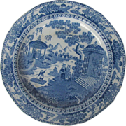 Antique Blue Transferware Plate, Chinese Raft Pattern, English or Welsh Chinoiserie, c1810