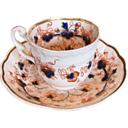 "English Imari Cup & Saucer,  Samuel Alcock, ""Melting Snow"",  Antique c1820"