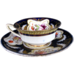 H. & R. Daniel Cup & Saucer, Cobalt Blue & Gold, 19thC English Porcelain