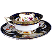SALE H. & R. Daniel Cup & Saucer, Cobalt Blue & Gold, 19thC English Porcelain