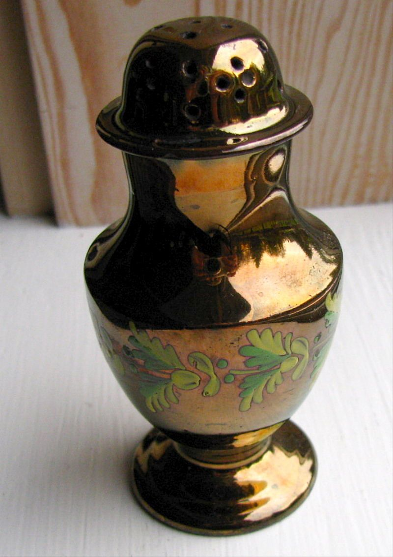 Copper Lustre Pepper Pot, Enameled Flowers, Antique 19th C English