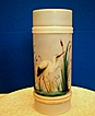 Mt. Washington Glass Ring Vase,Crane in Cattails, Smith Brothers, Antique