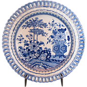 Minton Blue & White Plate, First Period, Bamboo & Flowers,  c1820 English Antique