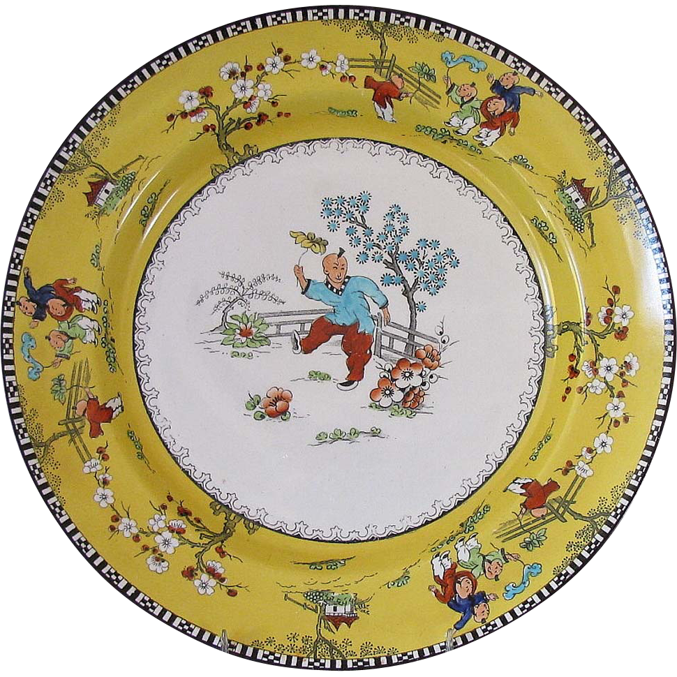 English Chinoiserie Plate, Chinese Children, Canary Yellow ...
