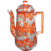 Ashworth-Mason's Ironstone Coffee Pot, Bandana Ware, Antique 19thC