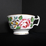 Rare New Hall Breakfast Cup, Bone China, Handpainted Flowers, Antique 19thC English