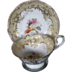 Coalport Cup & Saucer, Handpainted Flowers, Gilding, Antique c1840