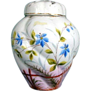 Potpourri Vase/Jar,  2  Covers,  Handpainted Porcelain, Antique 19thC