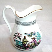 Bridgwood Creamer, Jug  Pitcher, English Chinoiserie Porcelain , Pekin, Antique 19thC