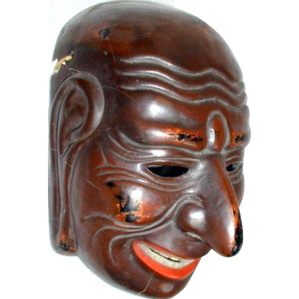 Japanese Lacquer Mask, Gigaku, Antique, Meiji Era Copy ...