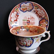 Hilditch Cup & Saucer, Chinoiserie Pattern, Antique 19thC English