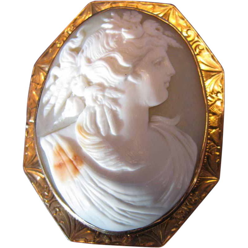 Large Shell Cameo Brooch, Goddess  Demeter or Ceres, 10K Gold Mounting, Antique