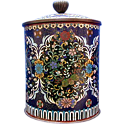 Japanese Cloisonne Tobacco Humidor, Covered Jar, Antique 19thC Meiji Era
