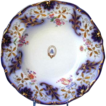 Davenport Soup Plate,  Armorial,  Cobalt & Gold, Antique 19thC English Porcelain