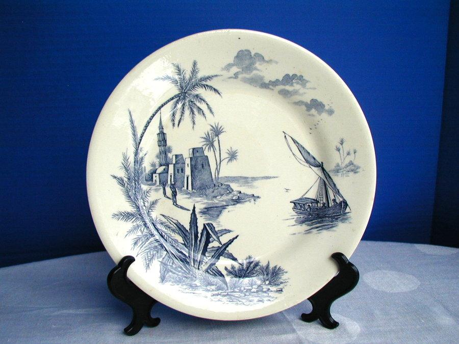 Gien Faience Plate, Harbor Scene,  Antique 19thC French