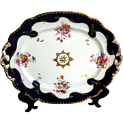 John Ridgway Porcelain Large Dish, Handpainted Flowers, Blue & Gold, c1835  English