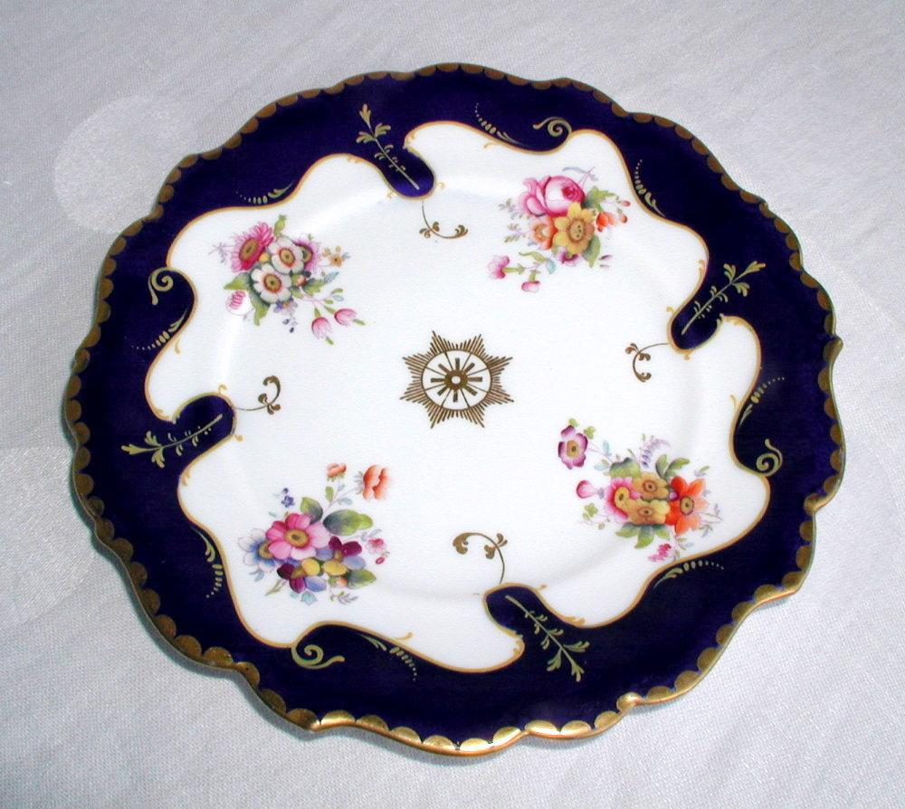 Ridgway Porcelain Plate, Handpainted Flowers, Cobalt & Gold,  c1835  British Royal Arms Mark
