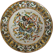 Chinese Export Plate, Canton 100 Butterfly Pattern, Polychrome, Antique 19thC