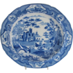 Early Spode Soup Plate, Gothic Castle, Antique Blue Transferware Chinoiserie, c1820