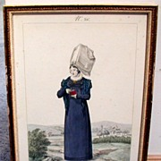 French Costume Print, Gatine/Lante, Coutances, Antique 19th C