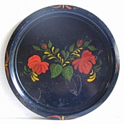 Vintage Tole Tray, Hand Painted , Good Folk Art Look