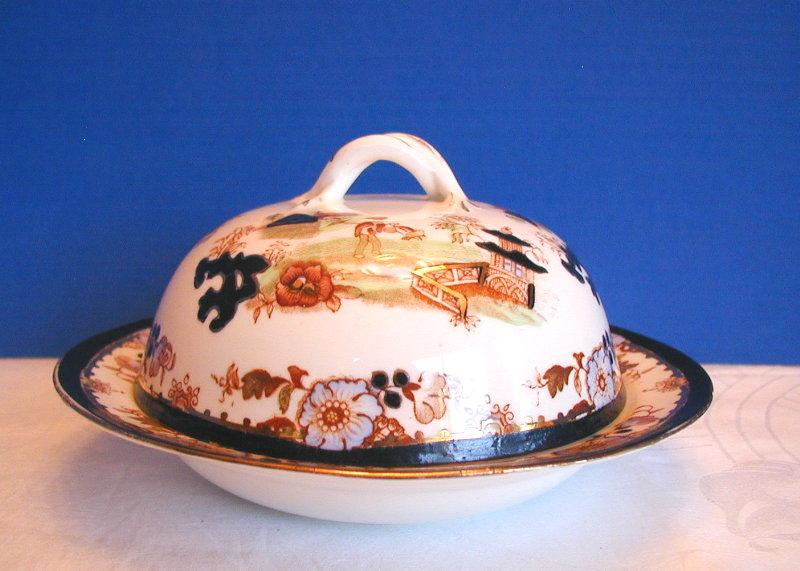 Muffin Dish with Cover, English Porcelain, Chinoiserie,  Antique 19thC, Slamat