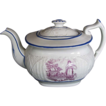"English Teapot,  ""Faith"", Basket Weave Molding, Antique Early 19thC Porcelain"