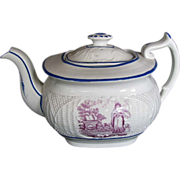 SALE English Teapot,  &quot;Faith&quot;, Basket Weave Molding, Antique Early 19thC Porcelain