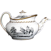 New Hall Teapot, Signed,  Prow Shaped, Antique  c1805 English