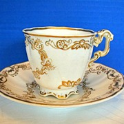 Copeland & Garrett Cup & Saucer, Felspar Porcelain , Antique 19thC English, As Is