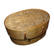 Norwegian Bent Wood & Chip Carved Oval Box, Sveiping �skjer, Antique