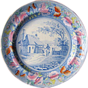 Mason Plate, Clobbered Transferware, Tyburn Turnpike, Beaded Frame Series,  Antique English ..