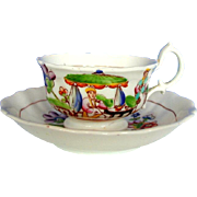 Hilditch Cup & Saucer, Garden Tea Party, Antique 19thC English Chinoiserie Porcelain