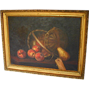 American Oil Painting, Still Life/ Basket of Apples with Pear, Antique 19thC