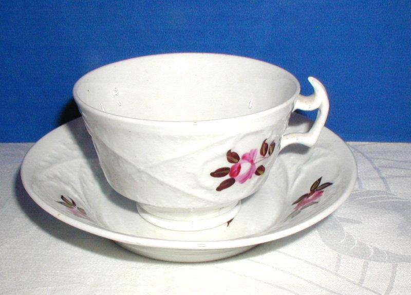 London Shape Cup & Saucer, Antique c. 1820, Hand Painted English Molded Porcelain