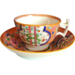 English Porcelain Cup & Saucer, &quot;Dollar Pattern&quot; London Shape, Antique Early 19th C